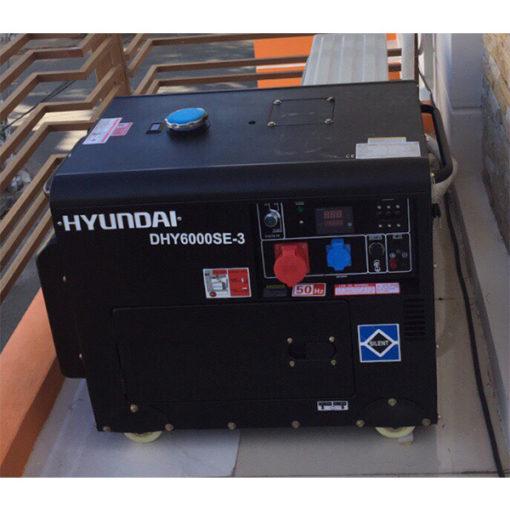 Máy phát điện chạy dầu 3pha 6kva cách âm. Hyundai DHY-6000SE3-t2